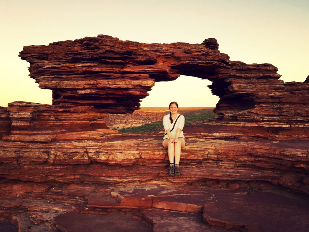 Abstract Heaven CEO, Christine Woolmer, at Natures Window in Kalbarri, Western Australia.