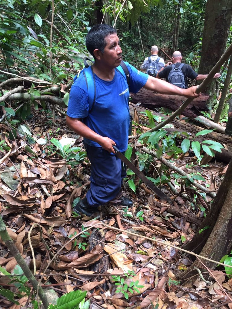 Our guide with his machete in the clearing he made for us