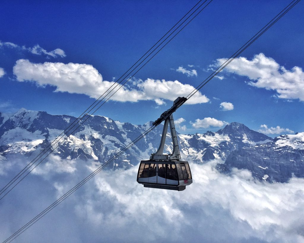 Schilthorn cable cacr abstract heaven switzerland travel guides